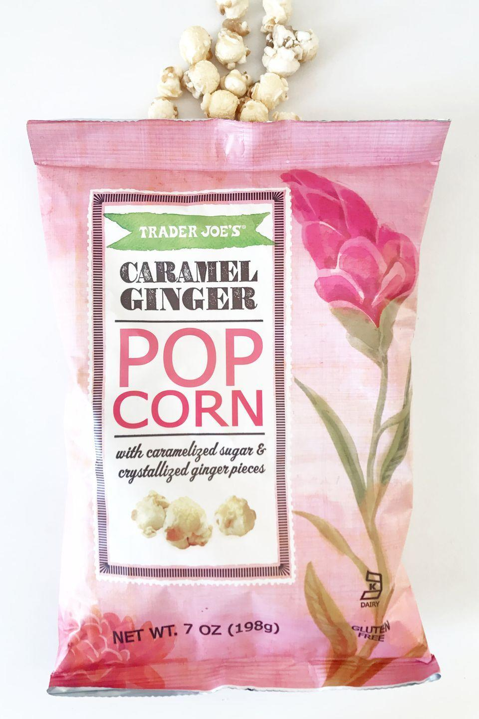 """<p>Popcorn can be a healthy alternative to snacks like potato chips...when it's prepared correctly. This Caramel Ginger Popcorn doesn't make the cut. """"What makes the Caramel Ginger Popcorn really bad is the sugar combined with the caramelization,"""" says Glen Wilde, CEO and founder of <a href=""""https://diettosuccess.com/"""" rel=""""nofollow noopener"""" target=""""_blank"""" data-ylk=""""slk:Diet to Success"""" class=""""link rapid-noclick-resp"""">Diet to Success</a>. """"The sugar alone is bad enough, but the caramel makes that sugar stick to your teeth, making it a cavity-inducing snack. A single one-cup serving contains just 110 calories, but a whopping 19g sugar. That's equivalent to half a can of Pepsi."""" </p>"""