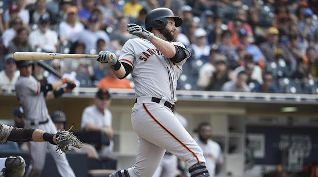 San Francisco Giants first basemen Brandon Belt had an at–bat for the ages on Sunday.