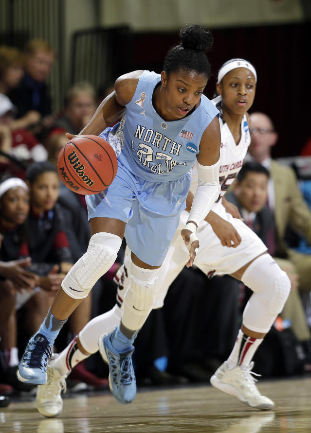 North Carolina guard Diamond DeShields, left, dribbles around South Carolina guard Tiffany Mitchell during the first half of a regional semifinal at the NCAA college basketball tournament in Stanford, Calif., Sunday, March 30, 2014. (AP Photo/Marcio Jose Sanchez)