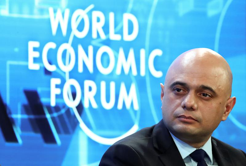 Britain's Chancellor of the Exchequer Sajid Javid attends a session during the 50th World Economic Forum (WEF) annual meeting in Davos, Switzerland, January 22, 2020. REUTERS/Denis Balibouse