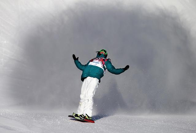 SOCHI, RUSSIA - FEBRUARY 08: Scotty James of Australia reacts during the Snowboard Men's Slopestyle Semifinals during day 1 of the Sochi 2014 Winter Olympics at Rosa Khutor Extreme Park on February 8, 2014 in Sochi, Russia. (Photo by Ryan Pierse/Getty Images)