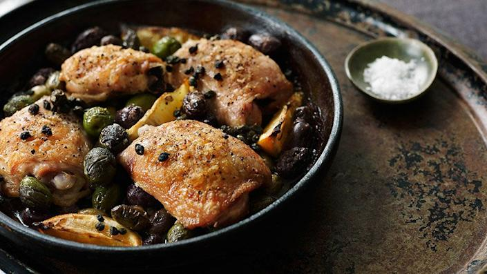 """Each of the ingredients in this dish pulls its weight, and then some -- which means you get tons of flavor out of a minimal ingredient list. Lemon, olives and capers are pretty much all you need, along with a dash of olive oil. The citrus juice helps make the chicken tender and mingles with the meat's juices to create a delicious sauce. <br><br> <strong>Get the recipe: <a href=""""http://www.oprah.com/food/Chicken-with-Olives-and-Capers-Recipe"""" rel=""""nofollow noopener"""" target=""""_blank"""" data-ylk=""""slk:Chicken with Olives and Capers"""" class=""""link rapid-noclick-resp"""">Chicken with Olives and Capers</a></strong>"""