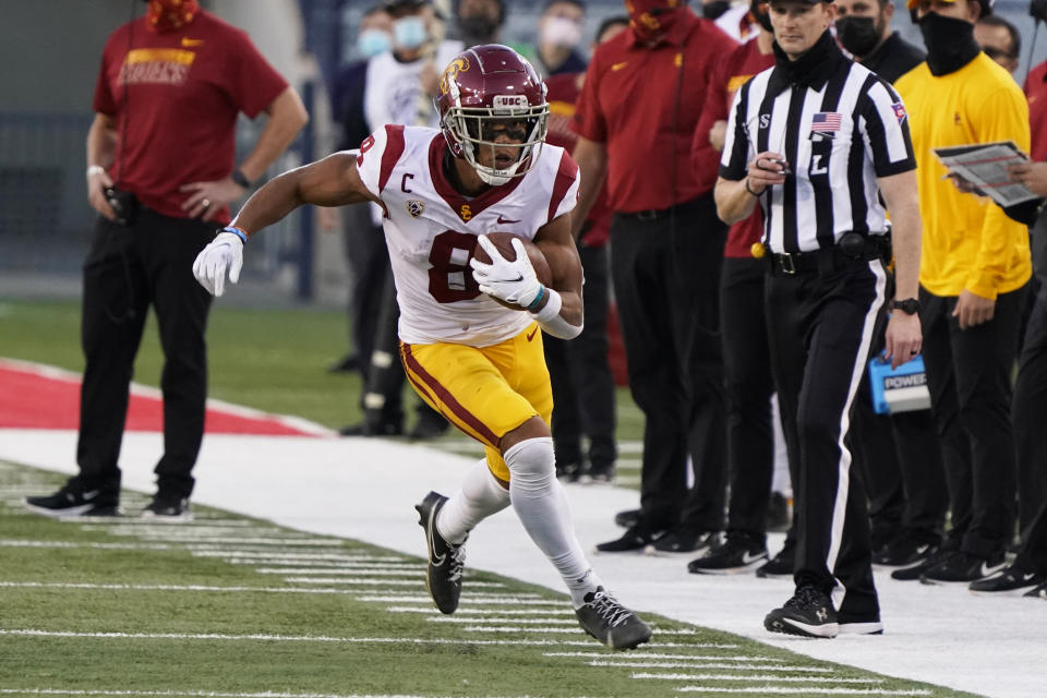 USC WR Amon-Ra St. Brown has been good in two games but could use a big showing against Utah. (AP Photo/Rick Scuteri)