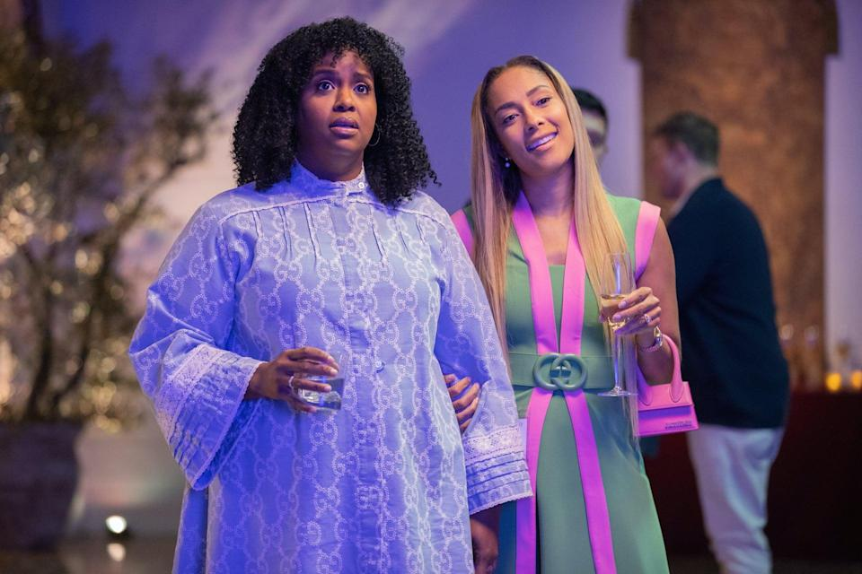 <p>Kelli and Tiffany both nailed the laidback cocktail party vibes at their college reunion in these easy, but statement-making Gucci dresses - not to mention a Jacquemus mini bag for Tiffany.</p>