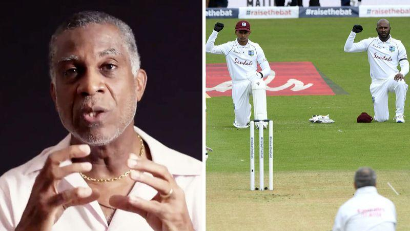 Seen here, Windies great Michael Holding and the current team taking a knee before the England Test.