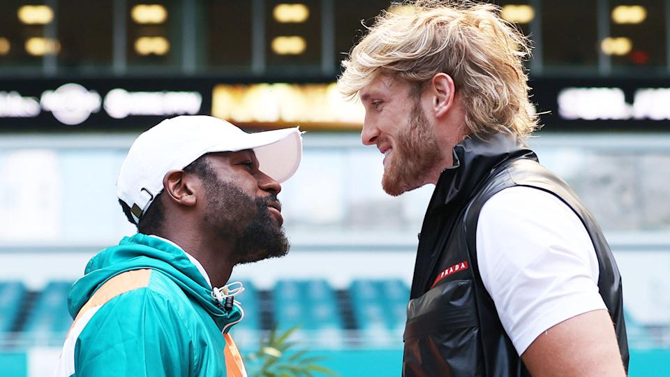 Floyd Mayweather (pictured left) and Logan Paul (pictured right) face off.
