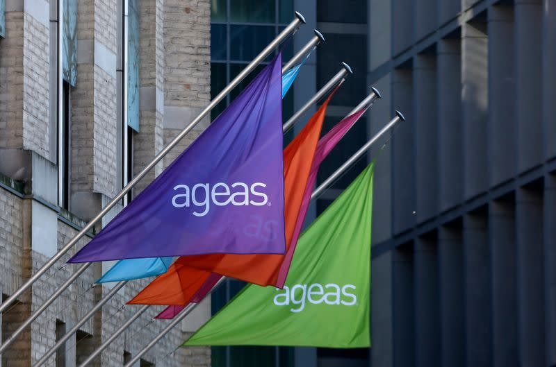 FILE PHOTO: The logo of Belgian insurance group Ageas is pictured at the company's headquarters in Brussels