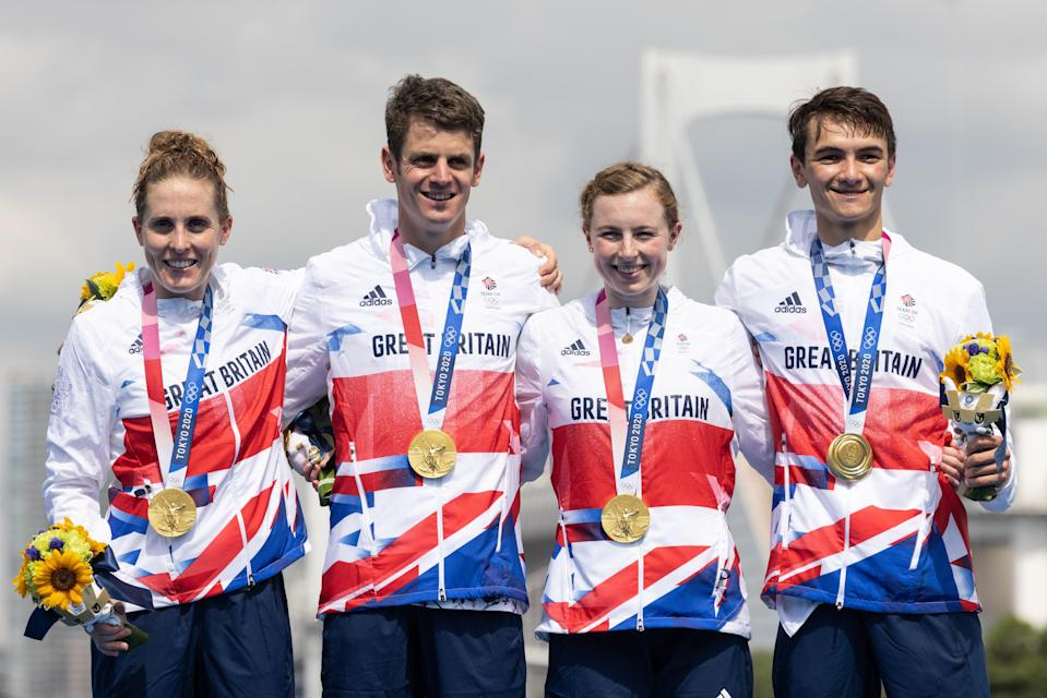 The British relay team finished 14 seconds ahead of the United States in second place (Getty Images)