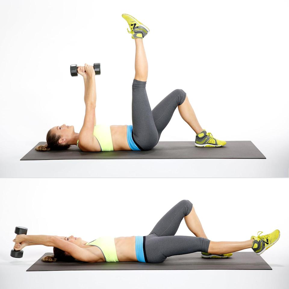 <p>This move challenges both the lower and upper abs to maintain torso stability while your arms and legs move away from your center. It's great for runners.</p> <ul> <li>Lie on your back with your arms reaching toward the ceiling, holding one weight with both hands. With your left leg bent and right leg out long, bring your right toes toward the ceiling. This is your starting position.</li> <li>Exhale, and lower your arms and leg toward the floor, keeping your lower back touching the mat.</li> <li>Inhale, and return to the starting position to complete one rep. Repeat on the other side, and continue alternating.</li> </ul>