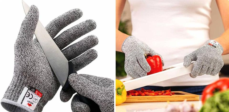 """This is a must-have for anyone who isn't super confident in their knife skills and would like to keep all of their digits.You can even pop these in the washing machine for a thorough cleaning.<br /><br /><strong>Promising review:</strong>""""Not sure how these gloves would work with a buzz saw, but wearing them has changed my life as an oyster shucker (which is why I bought them).<strong>Absolutely perfect! I can hold the oyster in my hand and go for it without fear of the shell slicing my hands.</strong>The knife has slipped a few times to stab me, and it stopped that as well. Super easy wash up as well."""" —<a href=""""https://www.amazon.com/dp/B00MXUHHGK?tag=huffpost-bfsyndication-20&ascsubtag=5890048%2C22%2C36%2Cd%2C0%2C0%2C0%2C962%3A1%3B901%3A2%3B900%3A2%3B974%3A3%3B975%3A2%3B982%3A2%2C16492501%2C0"""" target=""""_blank"""" rel=""""noopener noreferrer"""">Footsie<br /></a><br /><strong>Get them from Amazon for<a href=""""https://www.amazon.com/dp/B00MXUHHGK?tag=huffpost-bfsyndication-20&ascsubtag=5890048%2C22%2C36%2Cd%2C0%2C0%2C0%2C962%3A1%3B901%3A2%3B900%3A2%3B974%3A3%3B975%3A2%3B982%3A2%2C16492501%2C0"""" target=""""_blank"""" rel=""""noopener noreferrer"""">$11.49</a>(available in sizes S—XL).</strong>"""