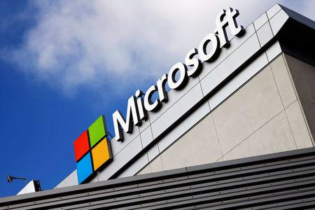 FILE PHOTO --  A Microsoft logo is seen a day after Microsoft Corp's (MSFT.O) $26.2 billion purchase of LinkedIn Corp (LNKD.N), in Los Angeles