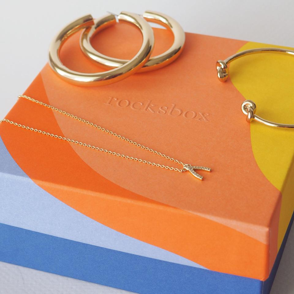 """Rocksbox is a jewelry lover's dream come true. Three pieces of designer jewelry come wrapped up and ready to wear. They're rentals, and you can keep them for months or swap them out at any time. You can also purchase the jewelry at a steep discount if you decide you <em>have</em> to have a particular piece forever. You can tailor your profile with preferences on style, metal, and types of jewelry to make sure you get the right mix of pieces. $49, Rocksbox. <a href=""""https://www.rocksbox.com/"""" rel=""""nofollow noopener"""" target=""""_blank"""" data-ylk=""""slk:Get it now!"""" class=""""link rapid-noclick-resp"""">Get it now!</a>"""