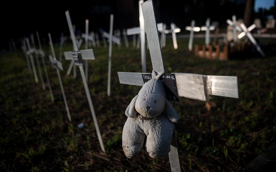 Crosses marking fetus burials at the Flaminio cemetery in Rome - Getty