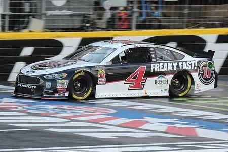 May 18, 2018; Concord, NC, USA; Monster Energy NASCAR Cup Series driver Kevin Harvick (4) during qualifying for the Monster Energy NASCAR Cup Series All-Star Race at Charlotte Motor Speedway. Monster Energy NASCAR Cup Series driver Matt Kenseth (6) would win the pole. Mandatory Credit: Jim Dedmon-USA TODAY Sports