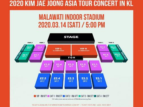 The seat map for Jae-joong's upcoming concert.