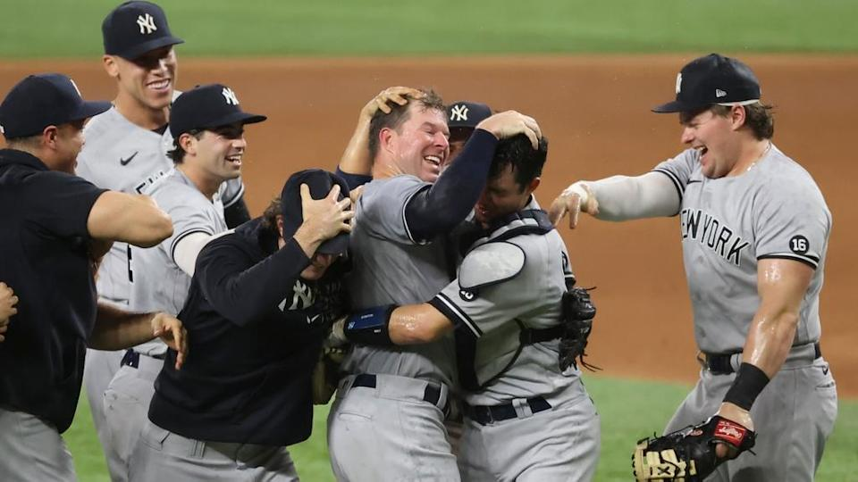 Corey Kluber mobbed on the mound by Yankees after final out no-hitter