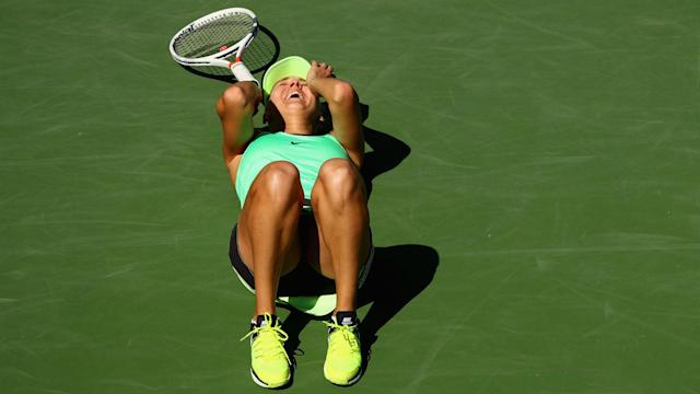After just over three hours in the heat, it was Elena Vesnina who finally took the title at Indian Wells after looking beaten.