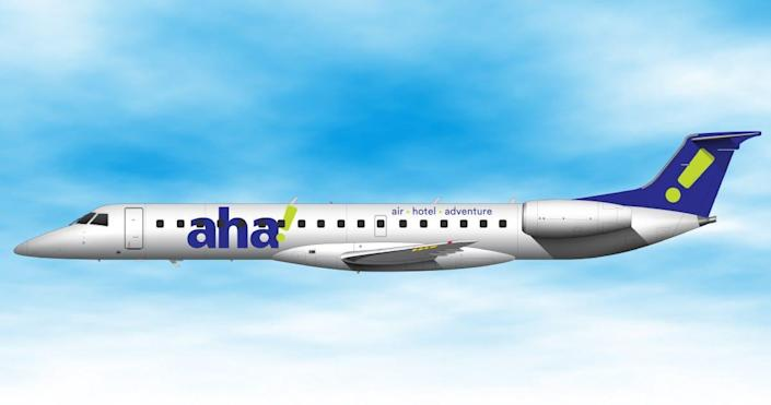 Aha, a new budget airline focused on flights to and from Reno, Nevada, will use 50-seat Embraer ERJ 145 regional jets.