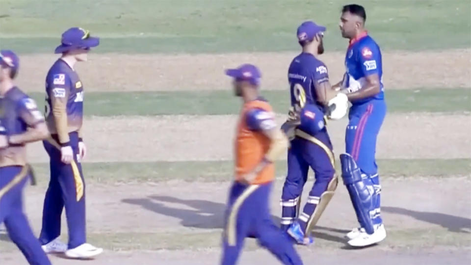 Eoin Morgan and Ravi Ashwin, pictured here exchanging words after the controversial incident in the IPL.