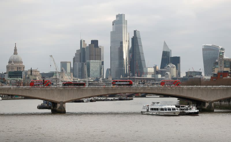 FILE PHOTO: The City of London financial district is seen amid the coronavirus disease (COVID-19) outbreak in London