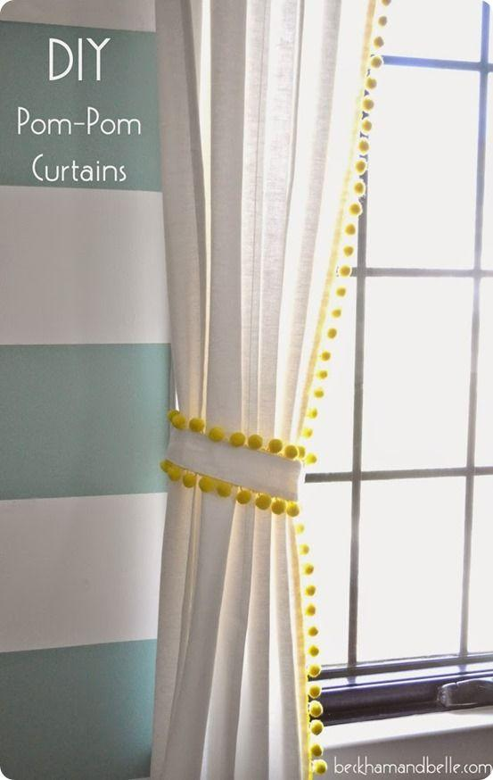 """<p>Neon yellow trim with dangling pom-poms adds texture and serious fun factor to all-white curtains. We love that even the curtain tie features the same matching details.</p><p><em><a href=""""http://www.beckhamandbelle.com/2015/04/diy-15-pom-pom-trimmed-curtains.html"""" target=""""_blank"""">Get the tutorial at Beckham + Belle »</a></em><a href=""""http://knockoffdecor.com/pom-pom-trim-curtains/"""" target=""""_blank""""></a></p>"""