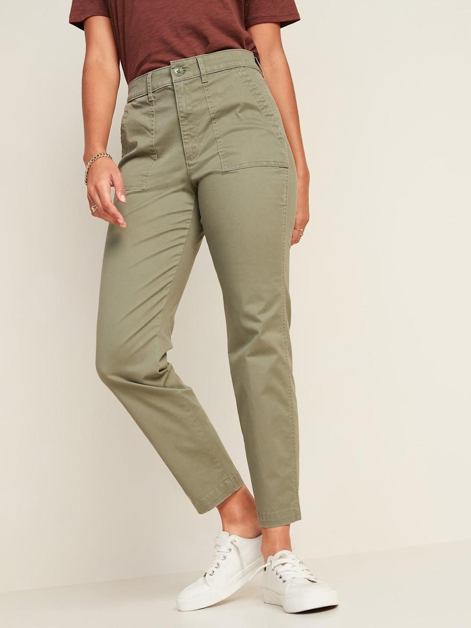 <p>These <span>Old Navy High-Waisted Utility Ankle Chino Pants</span> ($35) are perfect for casual days.</p>