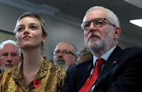 Britain's opposition Labour Party leader Jeremy Corbyn and Labour Party candidate for Halrow Laura McAlpine attend a general election campaign meeting in Harlow