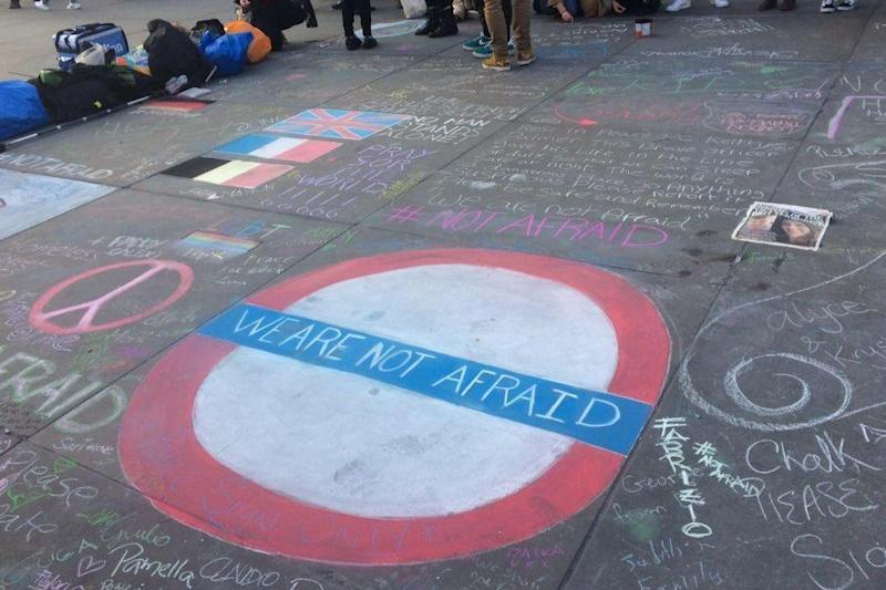 Vigil: Crowds gathered in Trafalgar Square (Amy Ashenden)