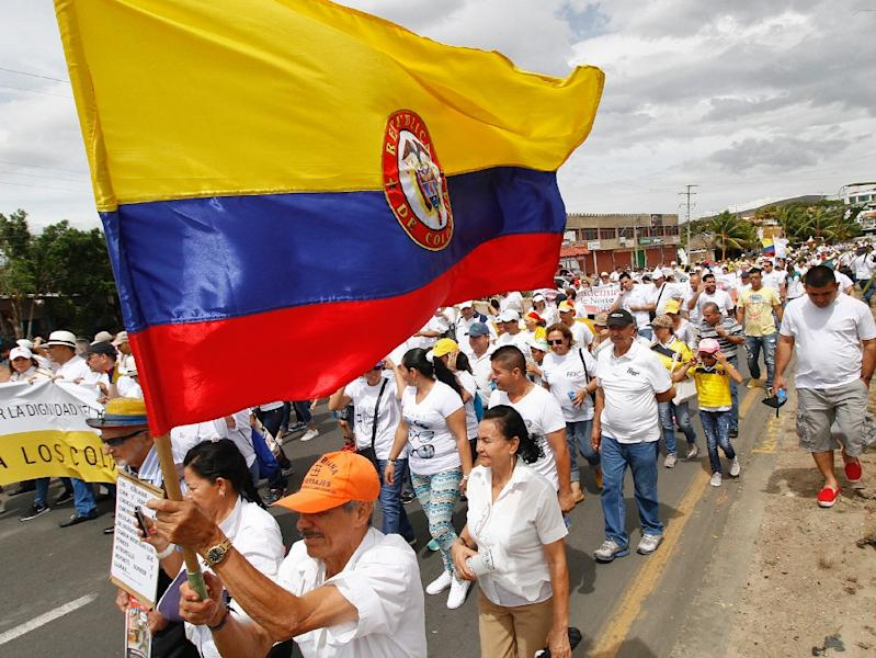 A man carries a Colombian flag during a march against Venezuelan President Nicolas Maduro, in Cucuta, Colombia, on September 6, 2015 (AFP Photo/Schneyder Mendoza)