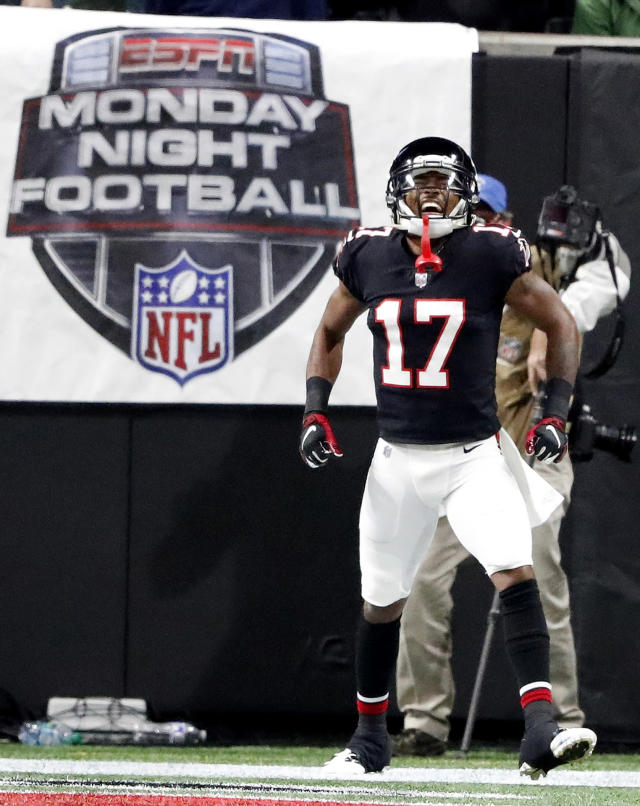 Atlanta Falcons wide receiver Marvin Hall (17) celebrates his touchdown against the New York Giants during the first half of an NFL football game, Monday, Oct. 22, 2018, in Atlanta. (AP Photo/John Bazemore)
