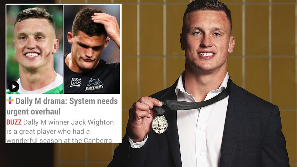 Pictured here, Dally M winner Jack Wighton and the leaked story that dropped hours before his award win.