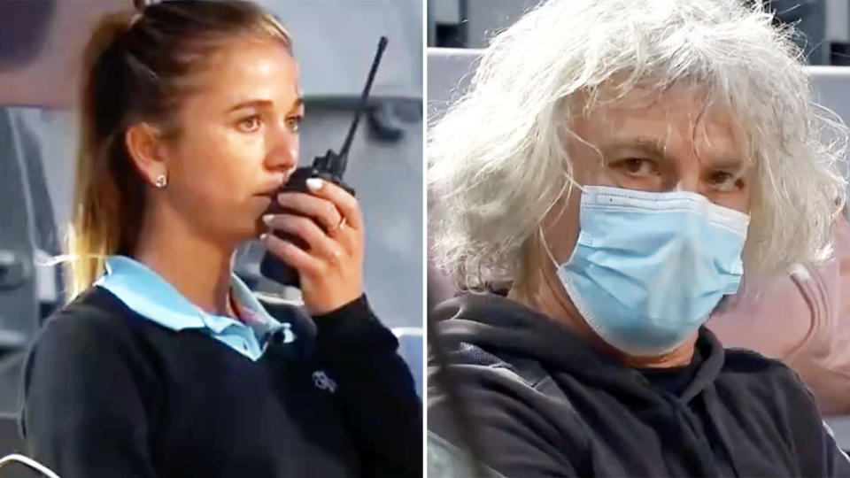 The chair umpire, pictured here calling for protection from Camila Giorgi's father.