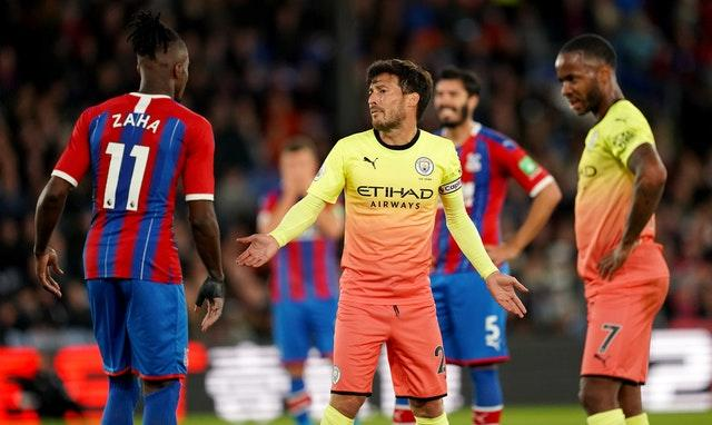 Gabriel Jesus and David Silva (centre) were on target as Manchester City bounced back in the Premier League to win 2-0 at Crystal Palace (John Walton/PA)