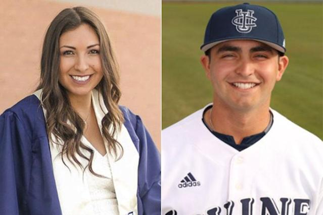 """Christiana Duarte (left) was killed in the Las Vegas shooting last Oct. 1. Her brother Mikey is a <a class=""""link rapid-noclick-resp"""" href=""""/mlb/teams/chw/"""" data-ylk=""""slk:Chicago White Sox"""">Chicago White Sox</a> prospect. (AP/UC-Irvine photos)"""
