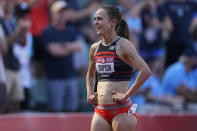 Jenny Simpson smiles after the finals of the women's 1500-meter run at the U.S. Olympic Track and Field Trials Monday, June 21, 2021, in Eugene, Ore. (AP Photo/Ashley Landis)