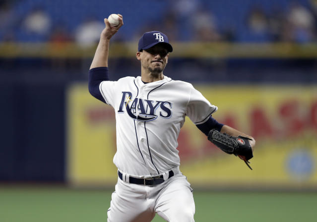 Tampa Bay Rays' Charlie Morton pitches to the Houston Astros during the first inning of a baseball game Friday, March 29, 2019, in St. Petersburg, Fla. (AP Photo/Chris O'Meara)