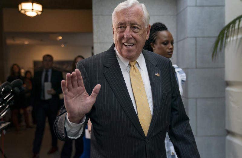 House Majority Leader Steny Hoyer, D-Md., arrives for a gathering of the House Democratic Caucus as Congress returns for the fall session with pressure mounting for a response to gun violence, at the Capitol in Washington, Tuesday, Sept. 10, 2019. Congressional Democrats are pressing President Donald Trump to intervene with Senate Republicans and demand passage of a bipartisan bill to expand background checks for gun purchases. (AP Photo/J. Scott Applewhite)