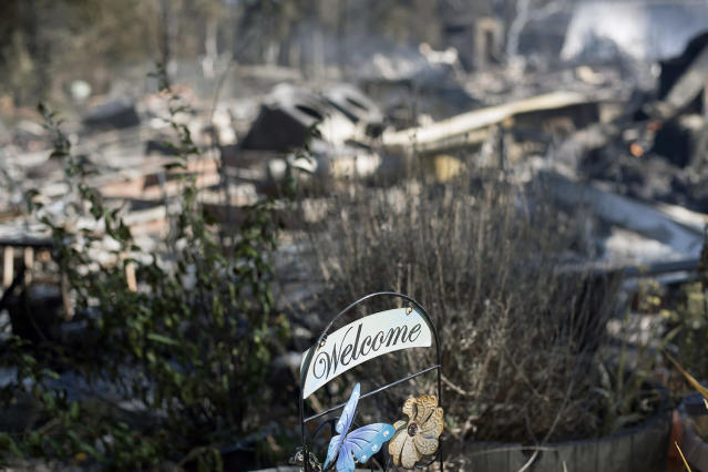 <p>A welcome sign rests in front of residence leveled by a wildfire Sunday, July 9, 2017, near Oroville, Calif. Wildfires barreled across the baking landscape of the western U.S. and Canada, destroying a smattering of homes and forcing thousands to flee. (AP Photo/Noah Berger) </p>