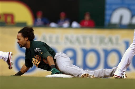 Oakland Athletics' Coco Crisp (4) steals second base against the Texas Rangers during the first inning of a baseball game, Monday, May 20, 2013, in Arlington, Texas. (AP Photo/Jim Cowsert)
