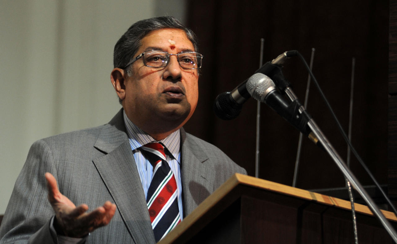 BCCI president N Srinivasan giving the TS Narayanswamy Lecture in Chennai on July 26, 2013. (Photo: IANS)