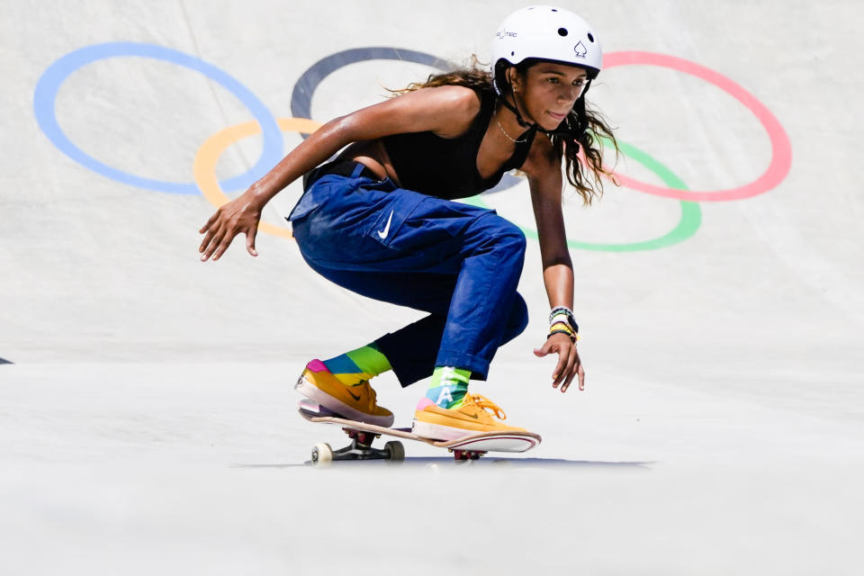 Brasil's Rayssa Leal trains during a street skateboarding practice session at the 2020 Summer Olympics, Friday, July 23, 2021, in Tokyo, Japan. (AP Photo/Markus Schreiber)
