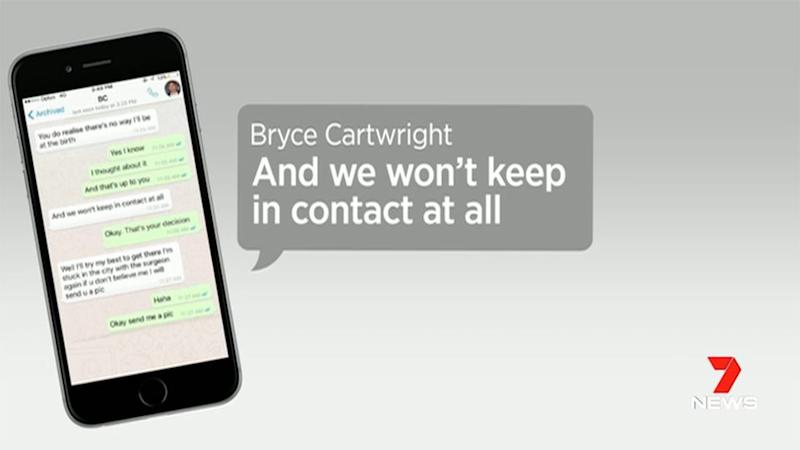 The woman produced text messages from Cartwright. Source: 7 News