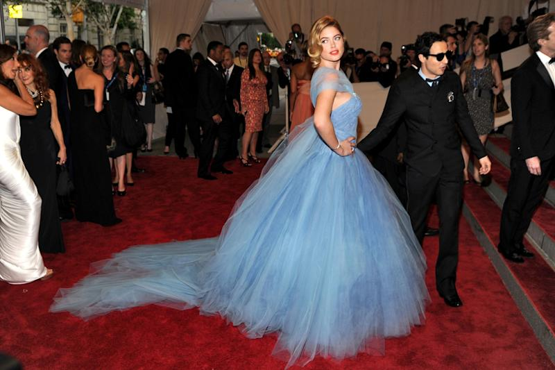 """Doutzen Kroes in Zan Posen at the 2010 Met Gala """"American Woman: Fashioning a National Identity."""" Photo by Getty Images."""
