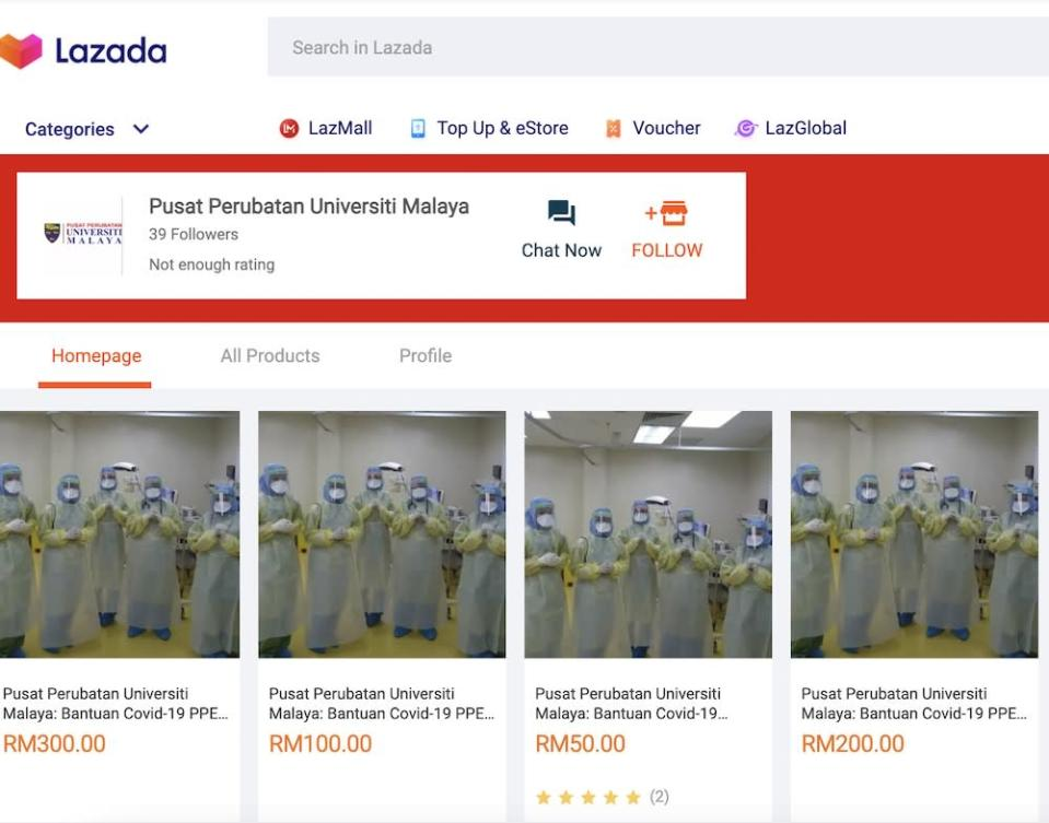 University Malaya verified the donation drive when some users on Twitter questioned the authenticity of tweets sharing links to the page.— Screenshot from Lazada