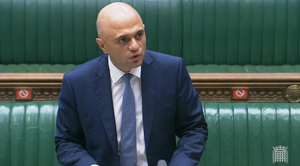 New Health Secretary Sajid Javid reads a statement in the House of Commons, London.