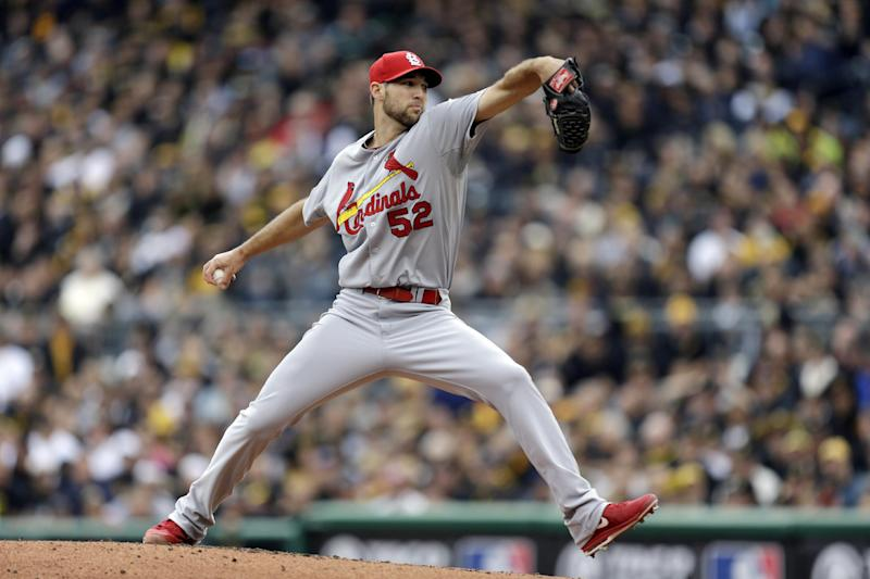 St. Louis Cardinals starting pitcher Michael Wacha throws against the Pittsburgh Pirates in the first inning of Game 4 of a National League division baseball series on Monday, Oct. 7, 2013 in Pittsburgh. (AP Photo/Gene J. Puskar)