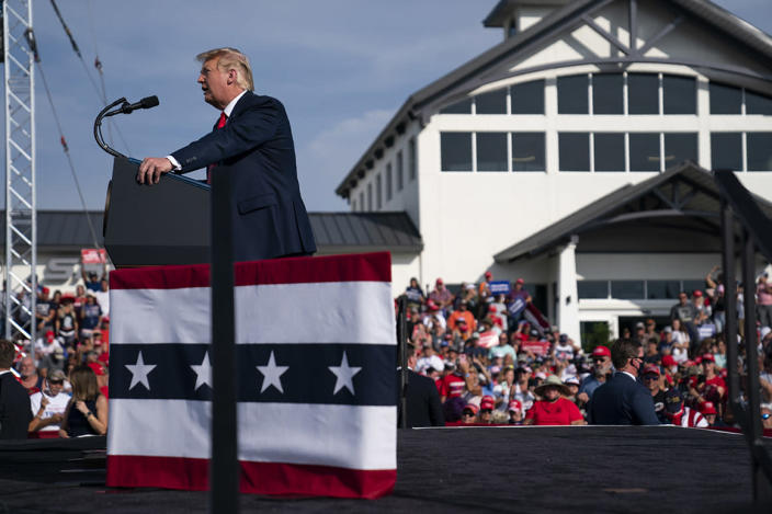 President Donald Trump speaks during a campaign rally at Ocala International Airport, Friday, Oct. 16, 2020, in Ocala, Fla. (AP Photo/Evan Vucci)
