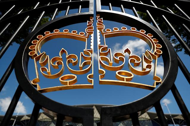 Horse Racing - Royal Ascot - Ascot Racecourse, Ascot, Britain - June 22, 2018 General view of the logo on the gates during Royal Ascot Action Images via Reuters/Andrew Boyers