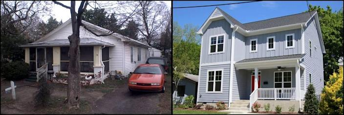 Photos of the home at 1505 E. Jones Street on December 6, 2011, left, and April 24, 2019.