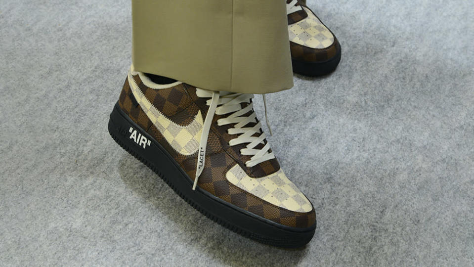 The Louis Vuittion Air Forces 1's donning the house's famous checkered print design. - Credit: Louis Vuitton